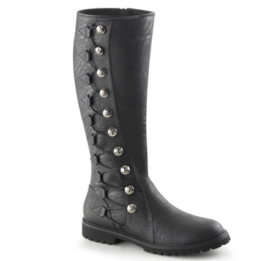 Gotham-109, Men's Knee High Button Lace Up Boots | Funtasma