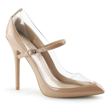 Amuse-21, 5 Inch Clear Mary Jane Pump