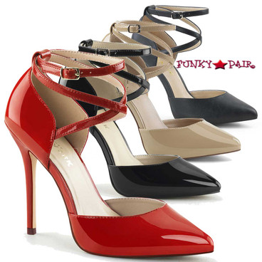 Amuse-25, 5 Inch D'Orsay Pump color available: red, black, cream