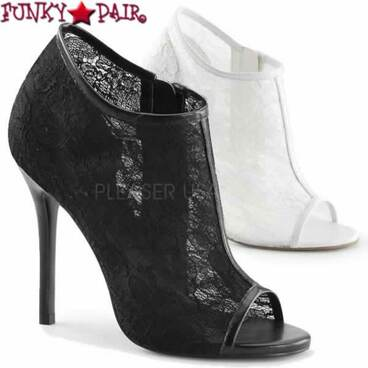 "Fabulicious | Amuse-56, 5"" Heel Lace Open Toe Booties"