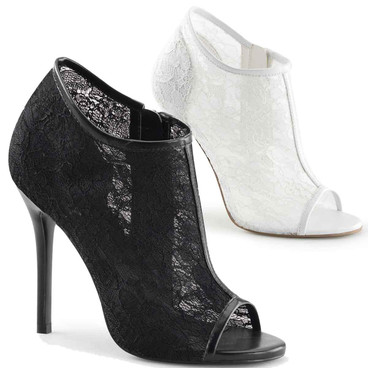 "5"" Heel Lace Open Toe Booties Fabulicious 