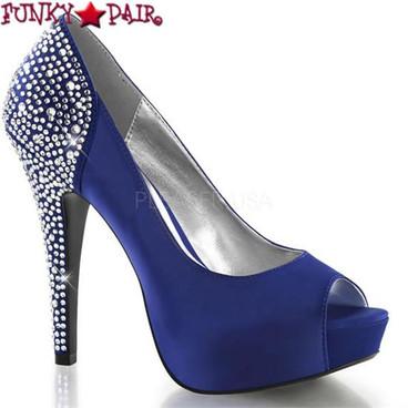 "Pleaser | Lolita-08, 5"" Pump with Rhinestones on Heel color Blue"