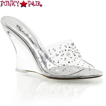 Pleaser | Lovely-401RS, 4 Inch Wedge Rhinestones Slide