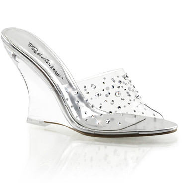 "Lovely-401RS, 4"" Clear Wedge Rhinestones Slide 