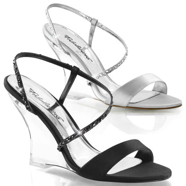 "Lovely-417, 4"" Special Evening Clear Wedge Slingback Sandal 