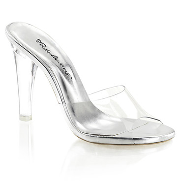 "4.5"" Heel Clear Dress Shoes Fabulicious 
