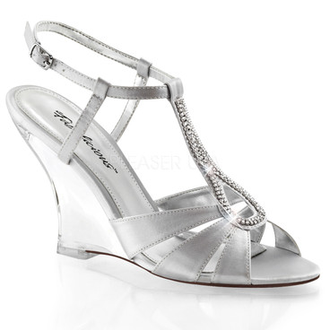 "Fabulicious | Lovely-420, 4"" Clear Wedge T-Strap Sandal"