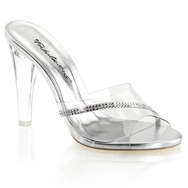 """4.5"""" Clear Heel Slide with Rhinestones Fabulicious 