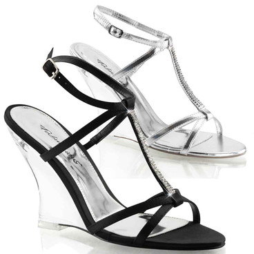 "Lovely-428, 4"" Clear Wedge T-Strap Rhinestones 