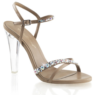"""4.5"""" Clear Heel with Rhinestones Criss Cross Sandal Fabulicious 
