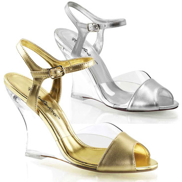 """Lovely-442, 4"""" Clear Evening Wedge Shoes Fabulicious"""