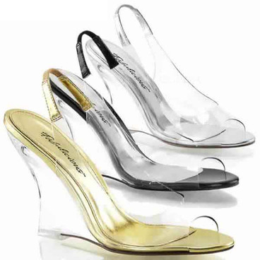 """4"""" Clear Slingback Wedge Fabulicious 