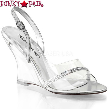Lovely-456, 4 Inch Wedge Slingback Sandal with Rhinestones Made By PLEASER Shoes