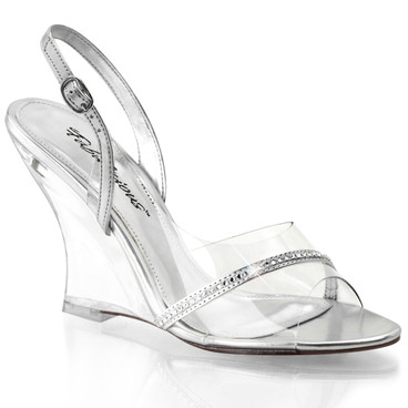 "4"" Special Occasion Clear Wedge Sandal with Rhinestones Lovely-456,"