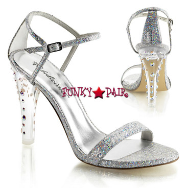 Clearly-425, 4.5 Inch Closed Back Ankle Strap Sanda Made By PLEASER Shoe