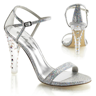 "4.5"" Clear Dressy Heel with Rhinestones Fabulicious 