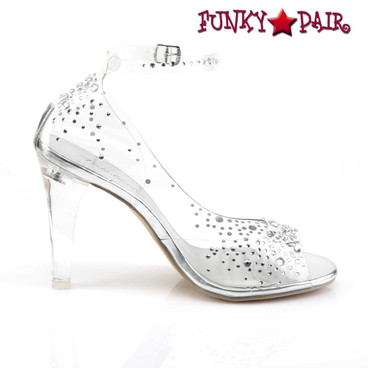 "Fabulicious | Clearly-430RS, 4.5"" Heel Clear Ankle Strap Sandal with Rhinestones side view"