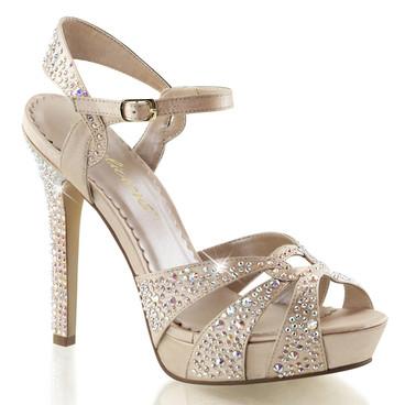 "4.75"" Heel Evening Rhinestones Ankle Strap Sandal Fabulicious | Lumina-23,"