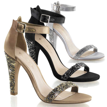 """4.5"""" Heel Closed Back Ankle Strap Sandal  Fabulicious   Clearly-436,"""