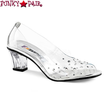 Funtasma Crystal-100, 2 Inch Clear Peep Toe Pump with Rhinestones
