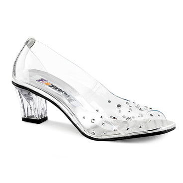 Clear Peep Toe pump with Rhinestones  Crystal-100, Funtasma