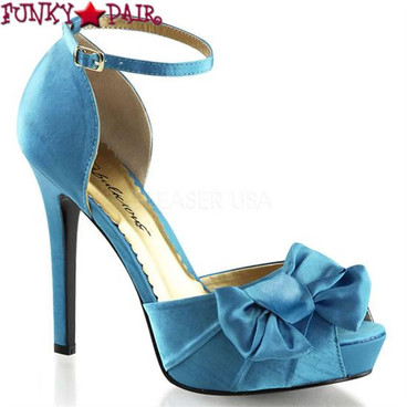 """Blue Lumina-36 4.75"""" Heel Evening Ankle Strap Pump with Bow"""
