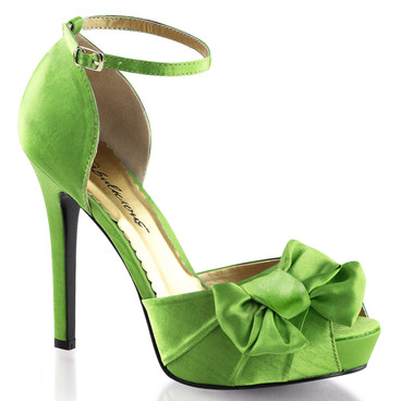 """Green  Lumina-36 4.75"""" Heel Evening Ankle Strap Pump with Bow Fabulicious 