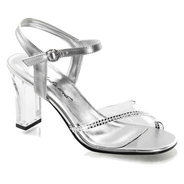 "Fabulicious | Romance-308R, 3.25"" Wedding Square Heel Rhinestones Sandal"