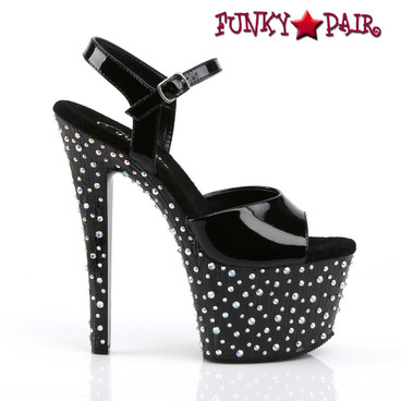 Pleaser   Stardance-709, Multi-Size Rhinestones Ankle Strap Sandal