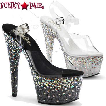 Pleaser | Starsplash-708, Silver Star Hologram Platform Shoes