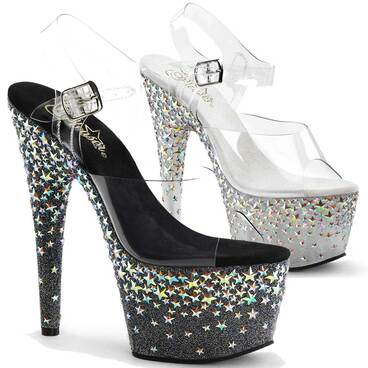 Silver Star Hologram Platform Shoes Pleaser Starsplash-708