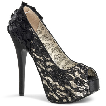 Peep Toe Pump with Lace Bordello | Teeze-19
