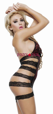 J1057, Strappy Lace Chemise Side