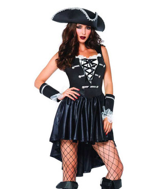 LA-85210, Women's Captain Black Heart Costume by Leg Avenue