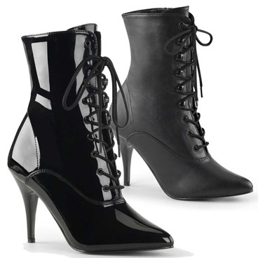 Vanity-1020, 4 Inch Heel Lace-up Ankle Boots with Zipper by Pleaser