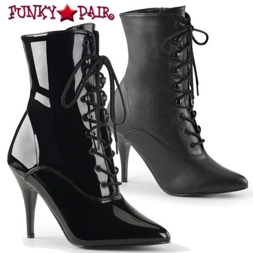 Pleaser | Vanity-1020, 4 Inch Heel Lace-up Ankle Boots with Zipper