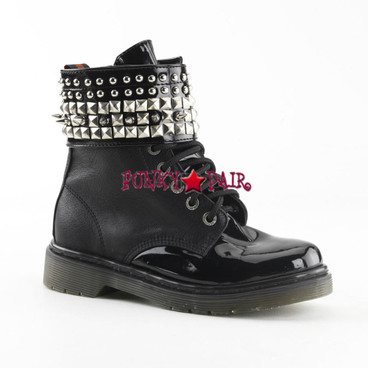 Rival-106, Spike and Studs Ankle Cuff Combat Women Punk boots Mady By Demonia