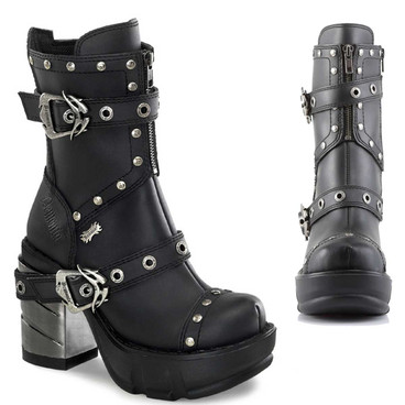 SINISTER-201, Chunky Chrome Heel Strap Studded Ankle Boot By Demonia