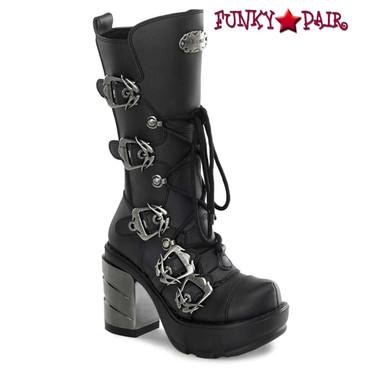 Demonia SINISTER-203, Multi Straps Demonia Calf Women Punk boots