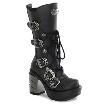 SINISTER-203, Multi Straps Demonia Calf Women Punk boots by Demonia