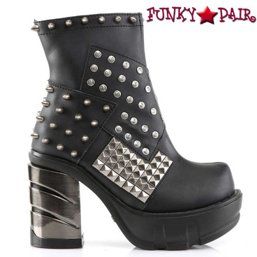 Demonia SINISTER-64, Ankle Bootie with Spikes & Pyramid Studs