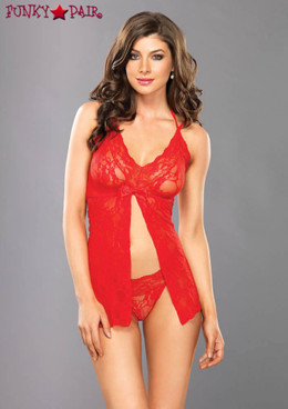 Halter Split Flyaway Babydoll, LA81454 color red