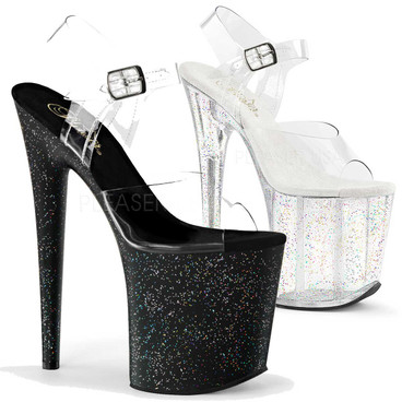 Pleaser | Flamingo-808MG, Ankle Strap Mini Glitters Platform Sandal