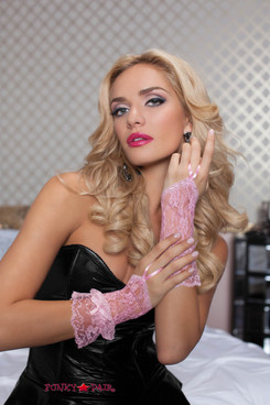 Light Pink Lace Wrist Length Fingerless Gloves (STM-40112)