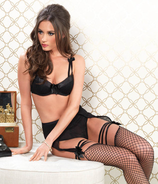 81467, Underwire Bra and High Waist Garter Panty