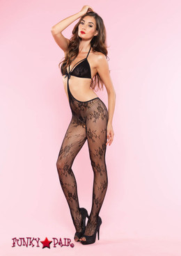 89127, Lace Strappy Cut Out Bodystocking