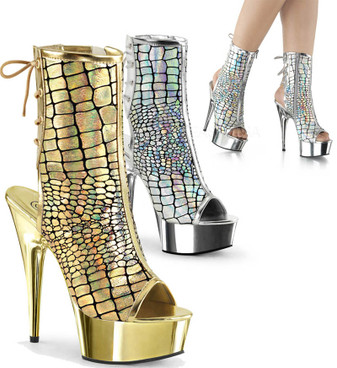 Delight-1018HG, 6 Inch Stiletto Heel Hologram Ankle Boots