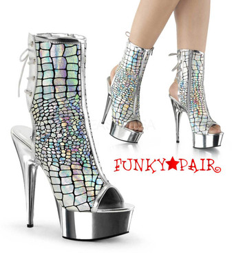 Pleaser | Delight-1018HG, Hologram Ankle Boots