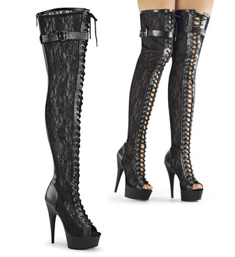 Delight-3025ML, 6 Inch Lace Up Thigh High Boots by Pleaser