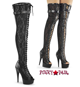 Pleaser | Delight-3025ML, 6 Inch Lace Up Thigh High Boots